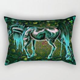Teal Love Horse Rectangular Pillow