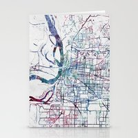 memphis Stationery Cards featuring Memphis map by MapMapMaps.Watercolors