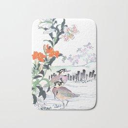 Kono Bairei - Birds In Swamp Water And Lily Flowers - Vintage Japanese Woodblock Print Art  Bath Mat