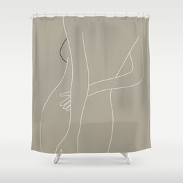 Minimal Line Art Woman Figure III Shower Curtain