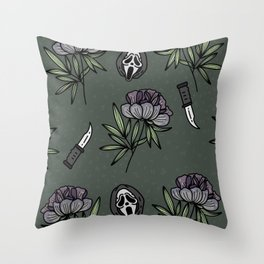 ghostface w knife ~green tones Throw Pillow