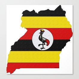 Uganda Map with Ugandan Flag Canvas Print