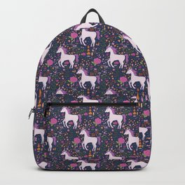 Be Magical Unicorn Pattern in a Garden Backpack