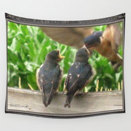 The Adult Barn Swallow Arrives with Lunch for One Wall Tapestry