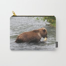 Brown Bear catching Salmon Carry-All Pouch