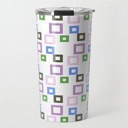 Geometrical lilac lavender blue forest green squares pattern Travel Mug
