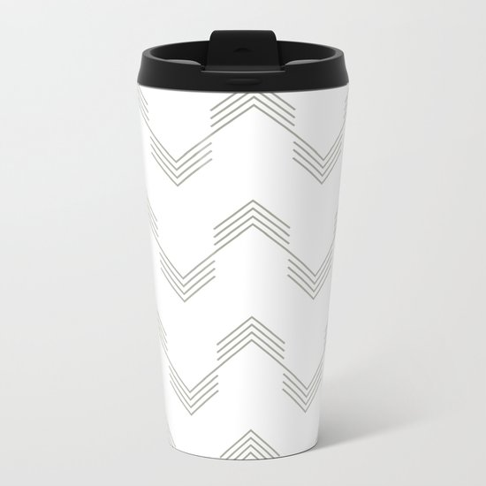 Simply Deconstructed Chevron Retro Gray on White Metal Travel Mug
