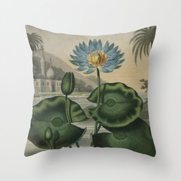 Temple of Flora Blue Egyptian Water Lily Throw Pillow