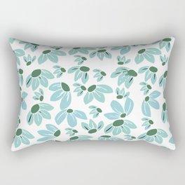 Floral Teal Daisies Rectangular Pillow
