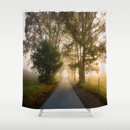 Daylight and Mist - Road with Warm Light in Great Smoky Mountains Shower Curtain