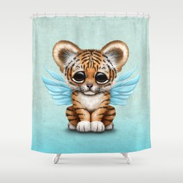 Cute Baby Tiger Cub with Fairy Wings on Blue Shower Curtain