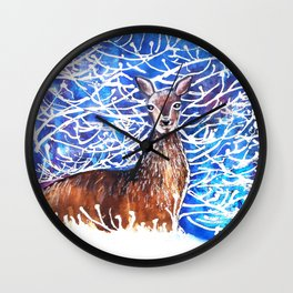 Deer in the Snow Wall Clock