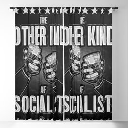 "Vintage ""The Other Kind of Socialist"" Alcoholic Lithograph Advertisement in shiny silver Blackout Curtain"