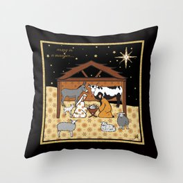 Christmas Nativity - Stable Amanya Design Throw Pillow