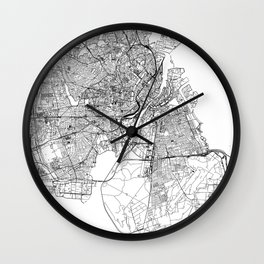 Copenhagen White Map Wall Clock
