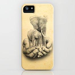 Refuge Elephants Drawing iPhone Case