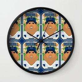Baseball Blue Pinstripes - Rhubarb Pitchbatter - Seba version Wall Clock