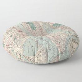 New York City, Manhattan, Vintage Map Floor Pillow
