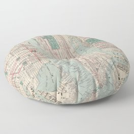 New York City, Manhattan, Vintage Map Floor Pillow
