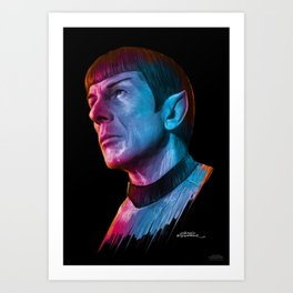 "Homage to Leonard Nimoy - Mr. Spock ""Star Trek"" (colored version) Art Print"