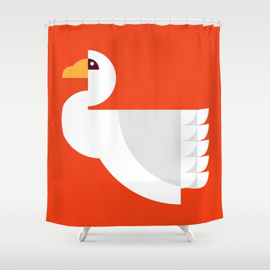 Geometric swan Shower Curtain