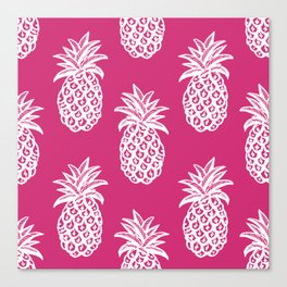 Pink yarrow inspired pineapples Canvas Print