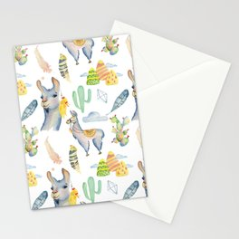 Cute hand painted blue pink yellow watercolor tropical llamas Stationery Cards