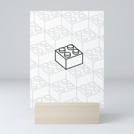 2x2 Legoblock White pattern Mini Art Print