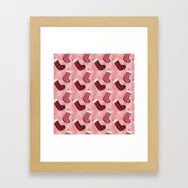 Christmas Socks Pattern Framed Art Print