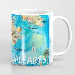 Balearic Islands Illustrated Travel Map with Majorca Ibiza Menorca Landmarks and Highlights Coffee Mug