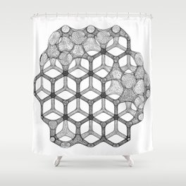 GEOMETRIC NATURE: COGNITIVE HEXAGON w/b Shower Curtain
