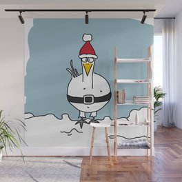 Eglantine la poule (the hen) dressed up as Santa Claus Wall Mural