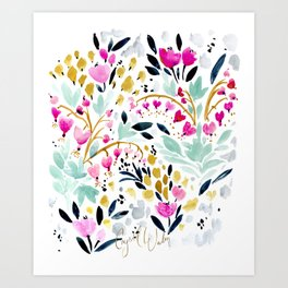 Two Hearts Beat as One Floral Art Print