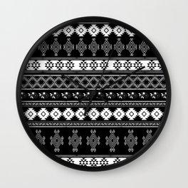 White & Black Primitive Pattern Wall Clock