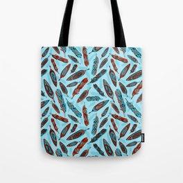 Tlingit Feathers Blue Tote Bag