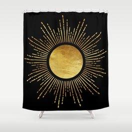 Golden Sunburst Starburst Noir Shower Curtain