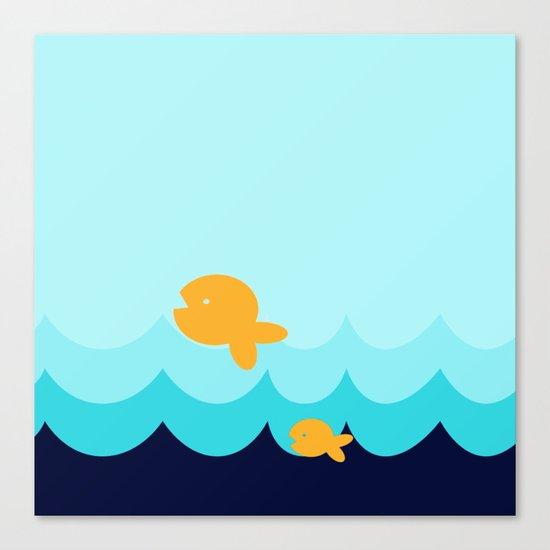 Beach Series Aqua- Gold Fish Animals in the deep See Canvas Print