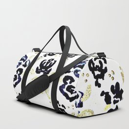 Flower with Gold Leaf Pattern Duffle Bag