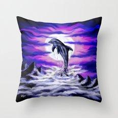 Moonlight-Dolphin Throw Pillow