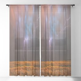 Ride the Lightning - Lightning and Rainbow Over Oklahoma Plains Sheer Curtain