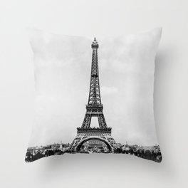 Eiffel tower in B&W with painterly effect Throw Pillow