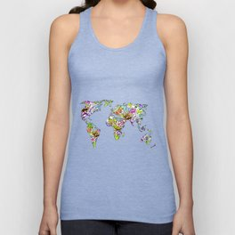 flowers in the world map Unisex Tank Top
