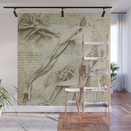 Leonardo Da Vinci human body sketches - arms Wall Mural