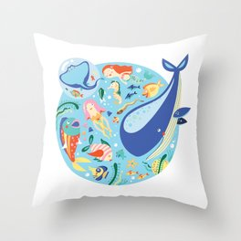 Under The Sea with a Mermaid Throw Pillow