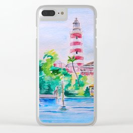 Elbow Reef Lighthouse Hope Town, Abaco, Bahamas Watercolor painting Clear iPhone Case