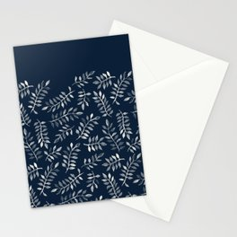White Leaves on Navy - a hand painted pattern Stationery Cards