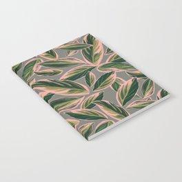 Calathea Leaves Pattern- Pink Green Gray Notebook