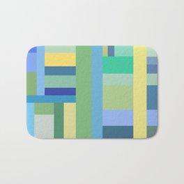 Abstract Blue Mint Green Geometry Bath Mat