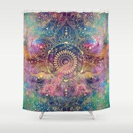 Gold watercolor and nebula mandala Shower Curtain