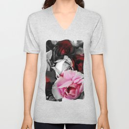 Black and White Roses Fade to Pink and Red Unisex V-Neck